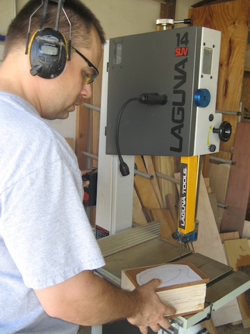 Cutting the box at the band saw