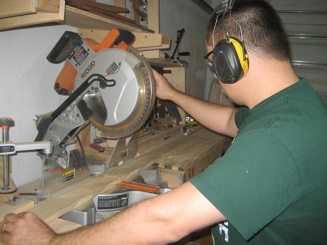 Working the miter saw