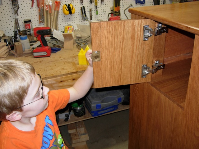Adam checking out the fit and finish of the cabinet