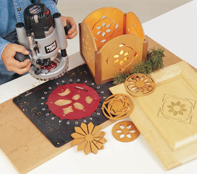 A router with a milescraft design kit can cut scrollwork