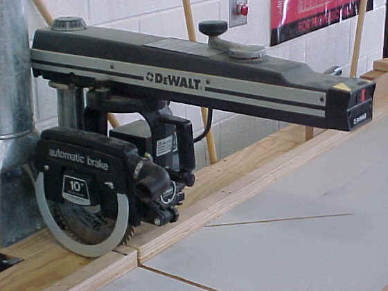 A radial arm saw
