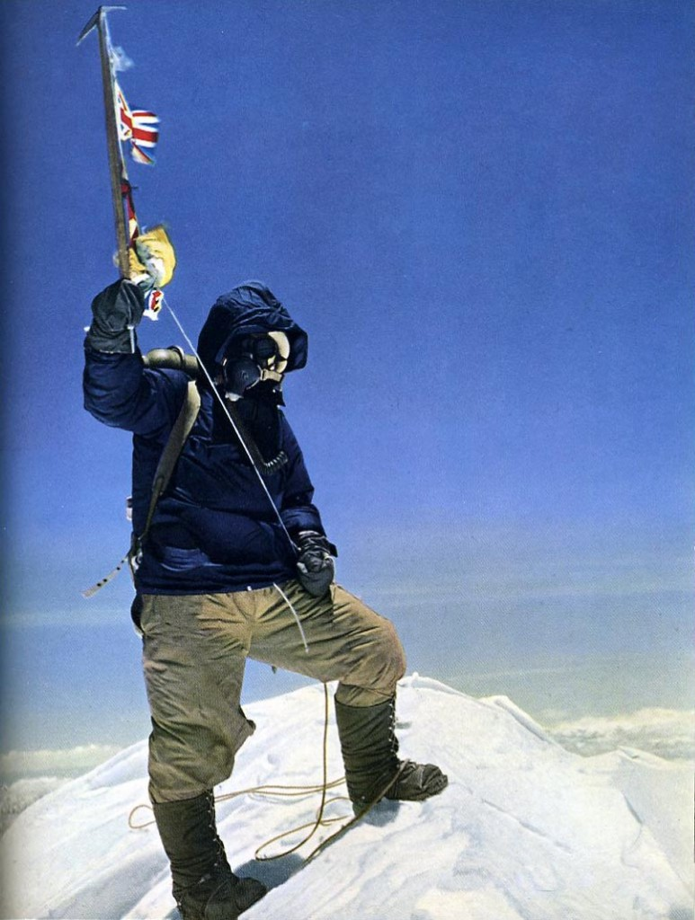 Tenzing Norgay on the summit of Mt. Everest