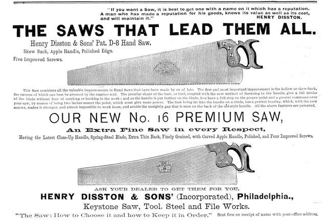 An ad for Disston saws