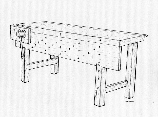 A line drawing of a Nicholson bench