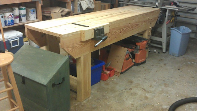 The tool chest and workbench in place