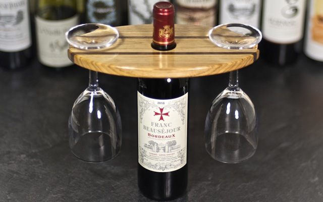 The wine bottle and glass caddy