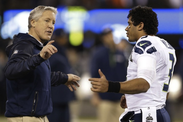 Pete Carroll coaches up  Russell Wilson