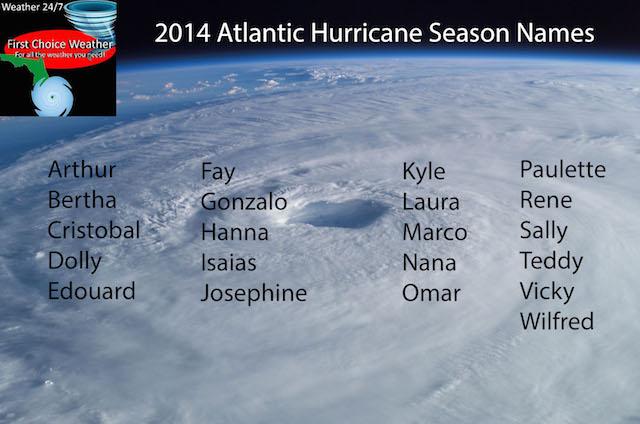 The 2014 Atlantic hurricane names