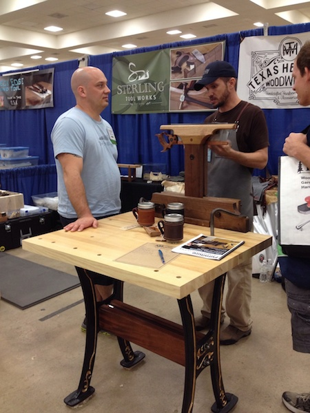 Jason showing off a saw vise prototype