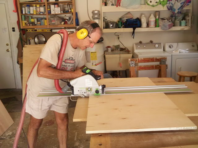 Paul working the track saw