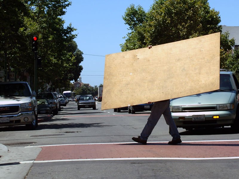 That's one way to carry plywood...