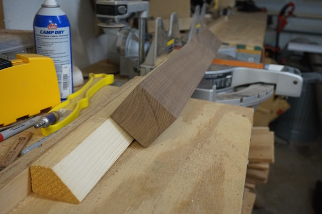 A wedge to keep the piece tipped properly